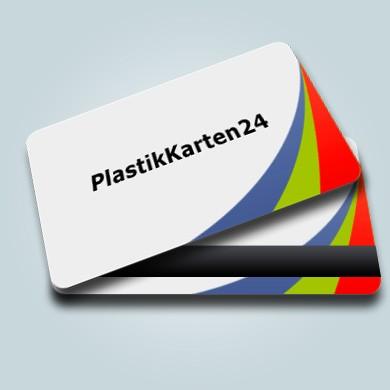 Plastikkarte - weiß 4/4 farbig bedruckt