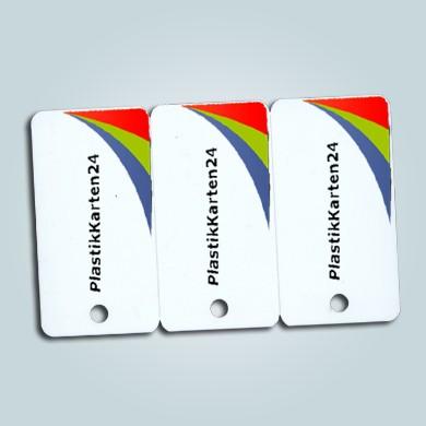 Keytag-Karten 4/0 farbig bedruckt mit Loch